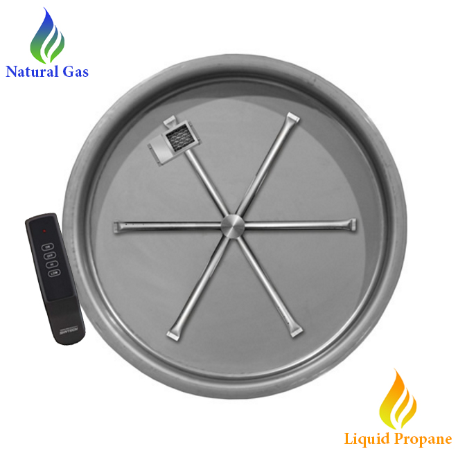 fire pit round burner insert on a flat disc pan that comes with remote control for