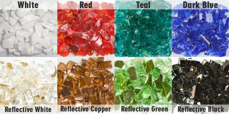 Fire glass for concrete fire bowls
