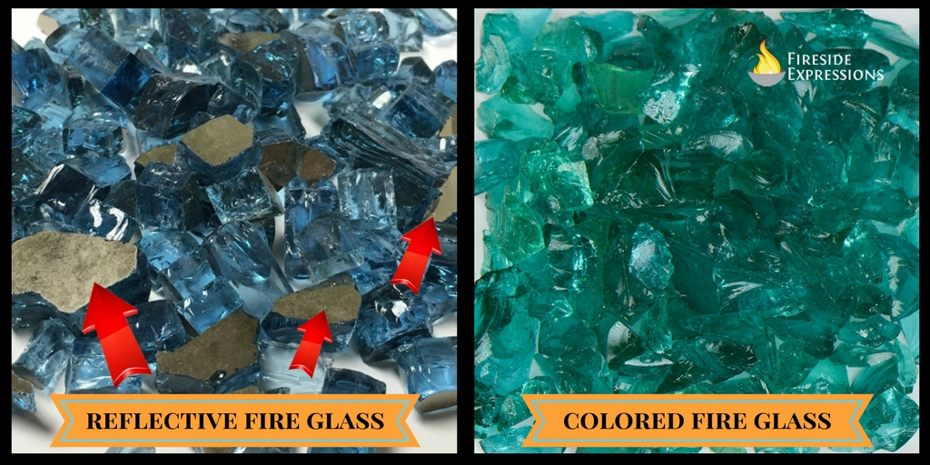 Difference between regular colored and reflective fire glass.