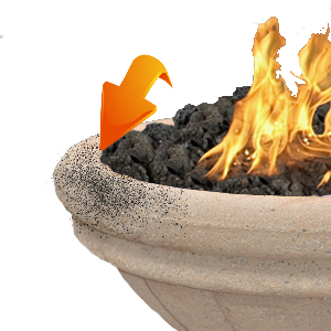 Black soot residue on a propane fire bowl.