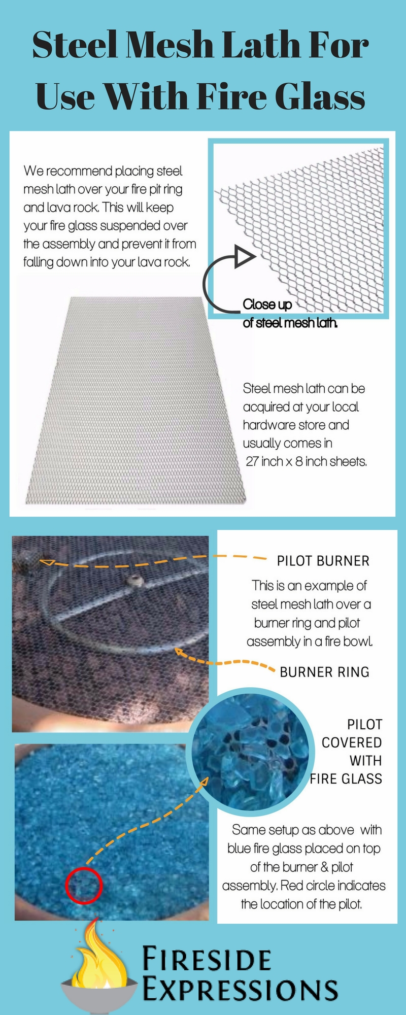 Steel Mesh Lath For Use With Fire Glass