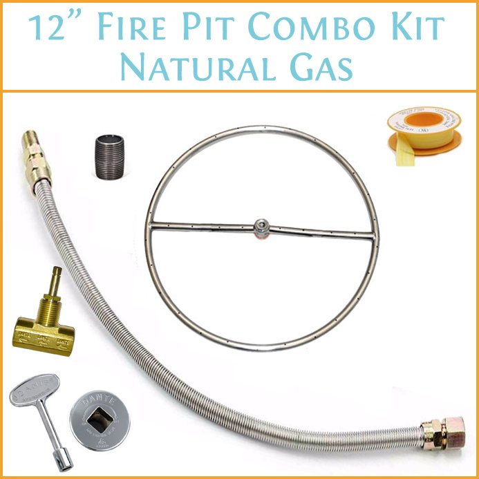 12 Inch Fire Pit Combo Kit - Natural Gas