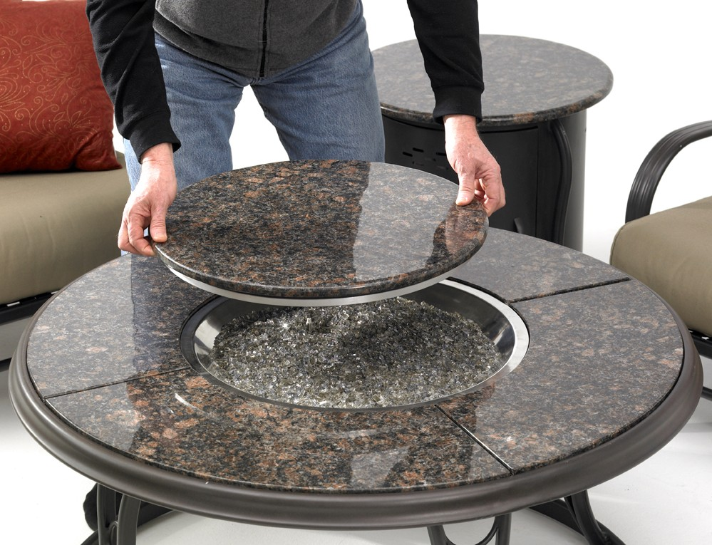Fire Pit Table Top Cover Part - 39: Round Granite Top Fire Pit Table 42 Inch