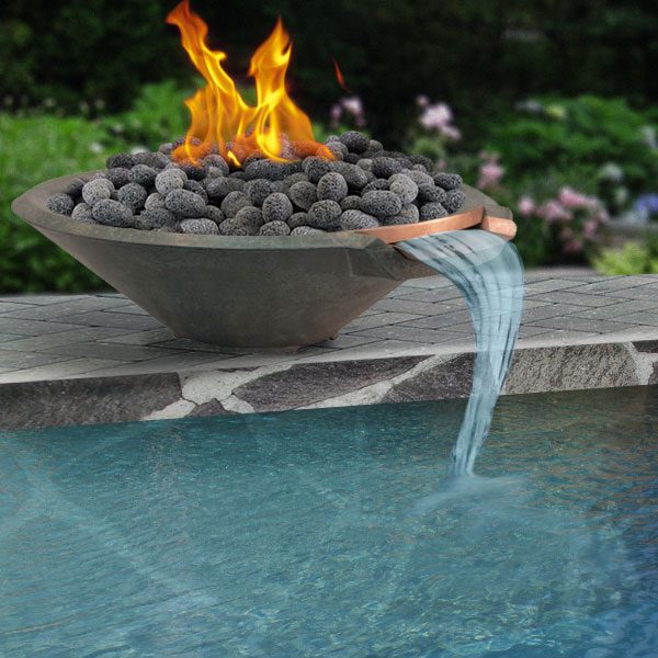 Cast stone pool fire bowl cone 33 inch - Pool fire bowls ...