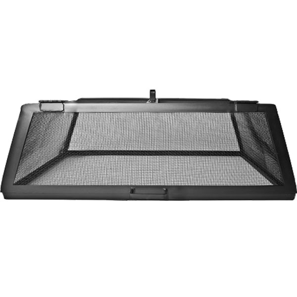 Fire Pit Spark Screens Part - 27: USA Made Carbon Steel Hinged Rectangle Fire Pit Screen - Black Finish ...