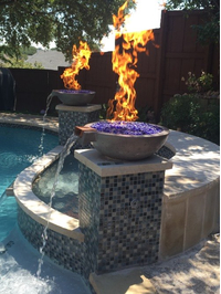21 Inch Fire & Water Bowls in Charcoal with spillway kits, 6 inch fire rings, and dark blue fire glass